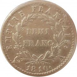 DEMI FRANC AU REVERS EMPIRE 1810 A etat TTB+