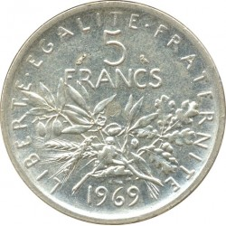 FRANCE 5 FRANCS ROTY 1969 SUP