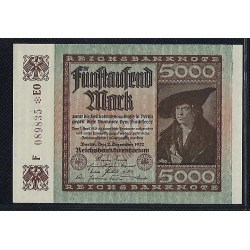 ALLEMAGNE 5000 MARK 02 12 1922 SERIE F 089835 EO SUP