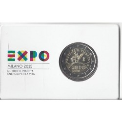 ITALIE 2 EURO COMMEMORATIVE EXPO MILAN COIN-CARD  2015