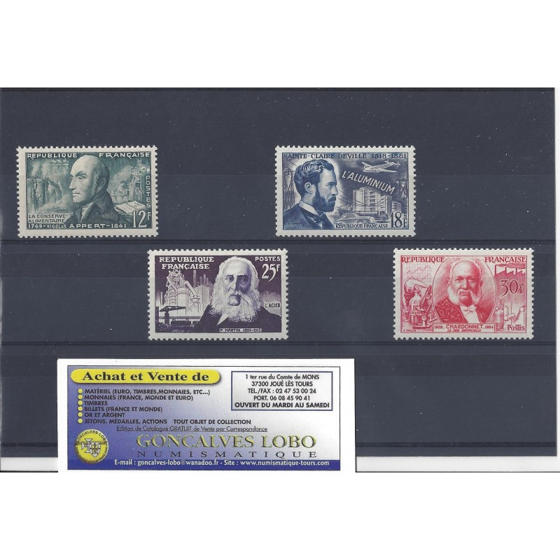 YVERT 1012 a 1017 INVENTEURS CELEBRES Serie 4 Timbres NEUF