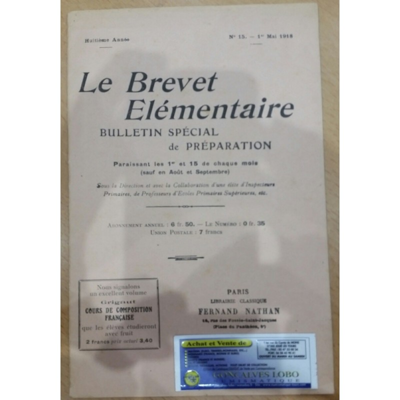 LE BREVET ELEMENTAIRE 01 AVRIL 1918