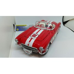 CHEVROLET CORVETTE 1957 ROUGE BANDES BLANCHES MAISTO 1/24 1:24