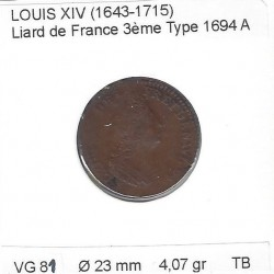LOUIS XIV ( 1643-1715 ) LIARD DE FRANCE 1694 A (Paris) TB