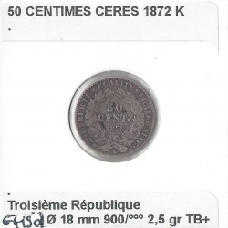 50 CENTIMES CERES 1872 K TB+