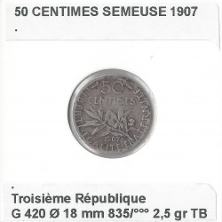 50 CENTIMES ROTY 1907 TB