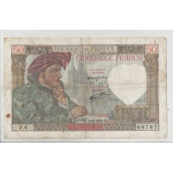 FRANCE 50 FRANCS SERIE F 6 JACQUES COEUR 13 06 1940 TB+