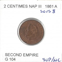2 CENTIMES NAPOLEON III 1861 A sous 8 SUP NC