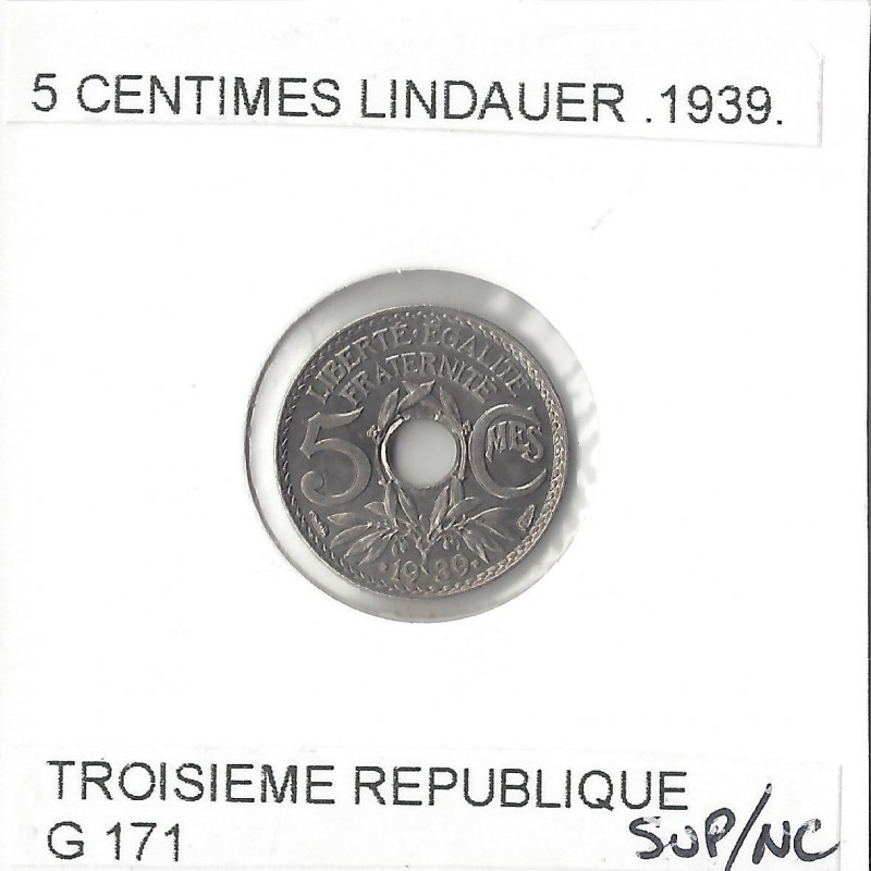 5 CENTIMES LINDAUER .1939. SUP NC