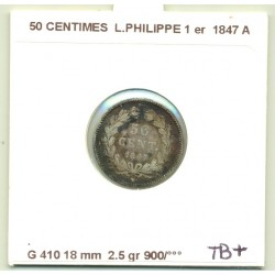 50 CENTIMES LOUIS PHILIPPE 1er 1847 A TTB-  Rayures