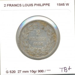 FRANCE 2 FRANCS LOUIS PHILIPPE 1845 W TB+