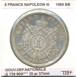 FRANCE 5 FRANCS NAPOLEON III 1868 BB TTB+