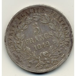 FRANCE 5 FRANCS CERES 1849  BB ( STRASBOURG )  TB+