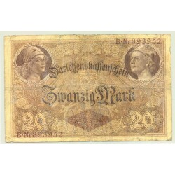 Allemagne 20 MARK  05 08 1914 Serie B.893952 TB