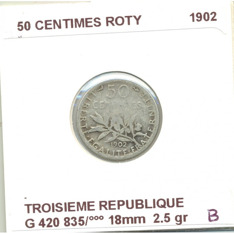 50 CENTIMES ROTY 1902 B