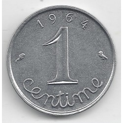 FRANCE 1 CENTIME INOX 1964 ECRITURE GRASSE AVERS SUP-
