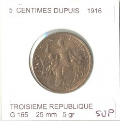 FRANCE 5 CENTIMES DUPUIS 1916 SUP