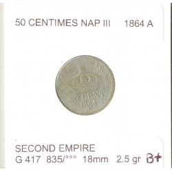 FRANCE 50 CENTIMES NAPOLEON  III 1864 A B+