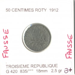 FRANCE 50 CENTIMES ROTY 1912 FAUSSE B+
