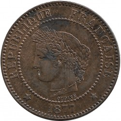 FRANCE 2 CENTIMES CERES 1877 A SUP-