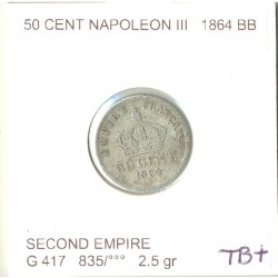 FRANCE 50 CENTIMES NAPOLEON  III 1864 BB TB+
