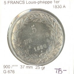 FRANCE 5 FRANCS LOUIS PHILIPPE 1830 A TB-