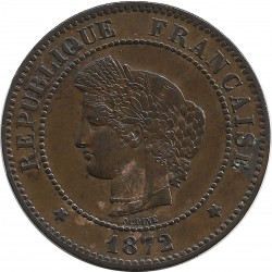 FRANCE 5 CENTIMES CERES 1872 PETIT A TTB+