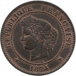 FRANCE 5 CENTIMES CERES 1874 K SUP