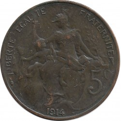 FRANCE 5 CENTIMES DUPUIS 1914 TTB+