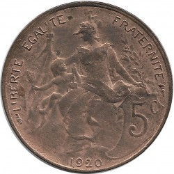 FRANCE 5 CENTIMES DUPUIS 1920 SUP