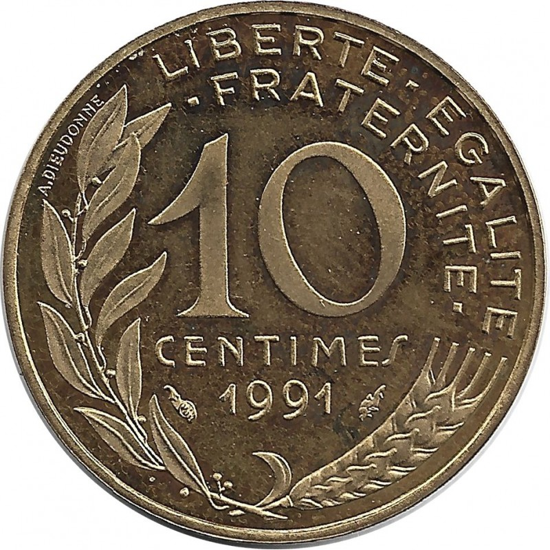 FRANCE 10 CENTIMES LAGRIFFOUL 1991 BE