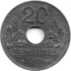 FRANCE 20 CENTIMES TYPE 20 1943 SUP+