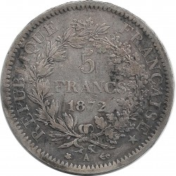 FRANCE 5 FRANCS DUPRE 1872 A TB+