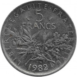 FRANCE 5 FRANCS ROTY 1982 SUP-