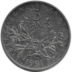 FRANCE 5 FRANCS ROTY 1991 SUP/NC