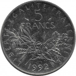 FRANCE 5 FRANCS ROTY 1992 SUP/NC