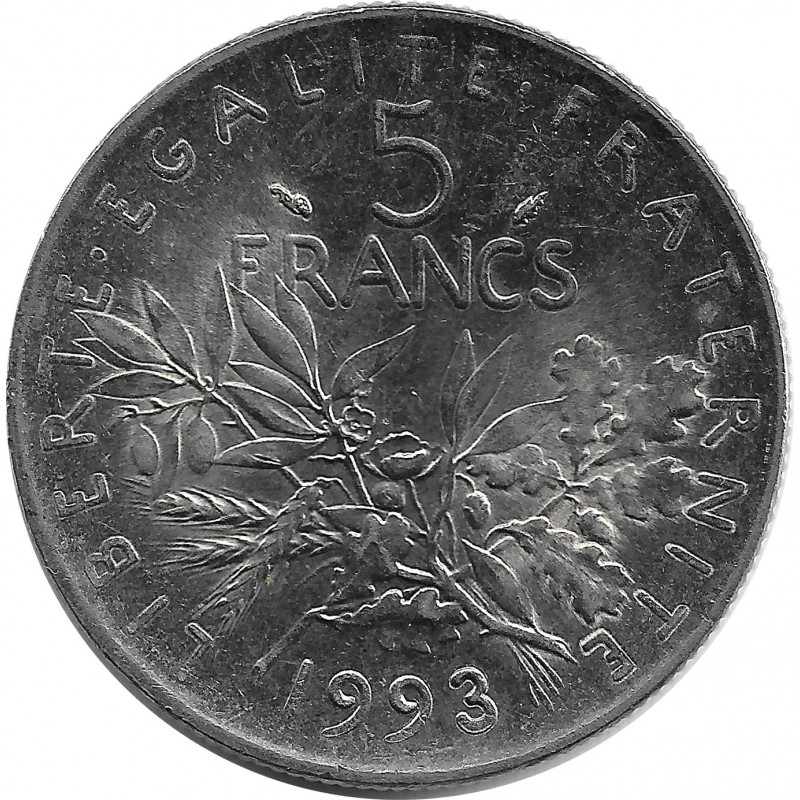 FRANCE 5 FRANCS ROTY 1993 SUP/NC
