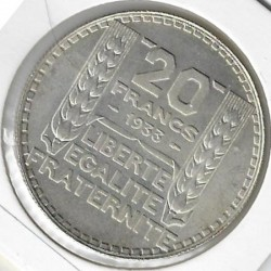 FRANCE 20 FRANCS TURIN 1933 R.COURT SUP/NC