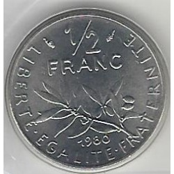 FRANCE 1/2 FRANC ROTY 1980 FDC