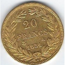 FRANCE 20 FRANCS OR LOUIS PHILIPPE  1831 A ( PARIS ) etat TTB GOLD ORO