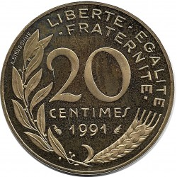 FRANCE 20 CENTIMES LAGRIFFOUL 1991 BE