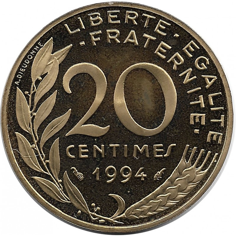 FRANCE 20 CENTIMES LAGRIFFOUL 1994 BE