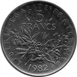 FRANCE 5 FRANCS ROTY 1982 SUP/NC