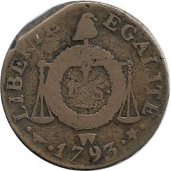 FRANCE LOUIS XVI 1 SOL AUX BALANCES 1793 W (Lille) B+