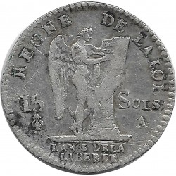 FRANCE LOUIS XVI 15 SOLS FRANÇOIS 1791 A (Paris) TB+
