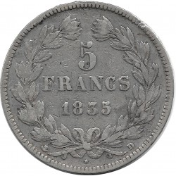 FRANCE 5 FRANCS LOUIS-PHILIPPE I 1835 D (Lyon) TB