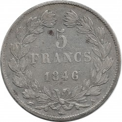 FRANCE 5 FRANCS LOUIS-PHILIPPE I 1846 A (Paris) TTB