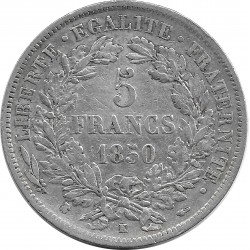 FRANCE 5 FRANCS CERES 1850 K (Bordeaux) TTB-
