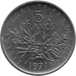 FRANCE 5 FRANCS SEMEUSE NICKEL 1971 SUP
