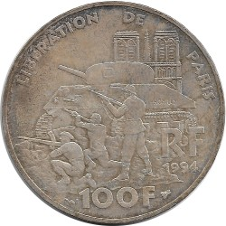 FRANCE 100 FRANCS LIBERATION DE PARIS 1994 TTB+